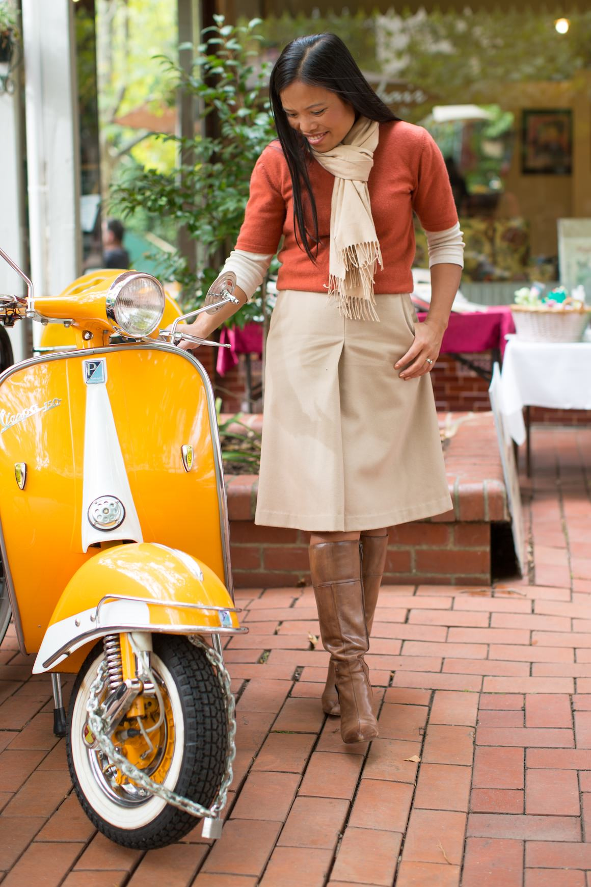 Vintage Vespa with Girl - Autumn dress in Melbourne, Canterbury