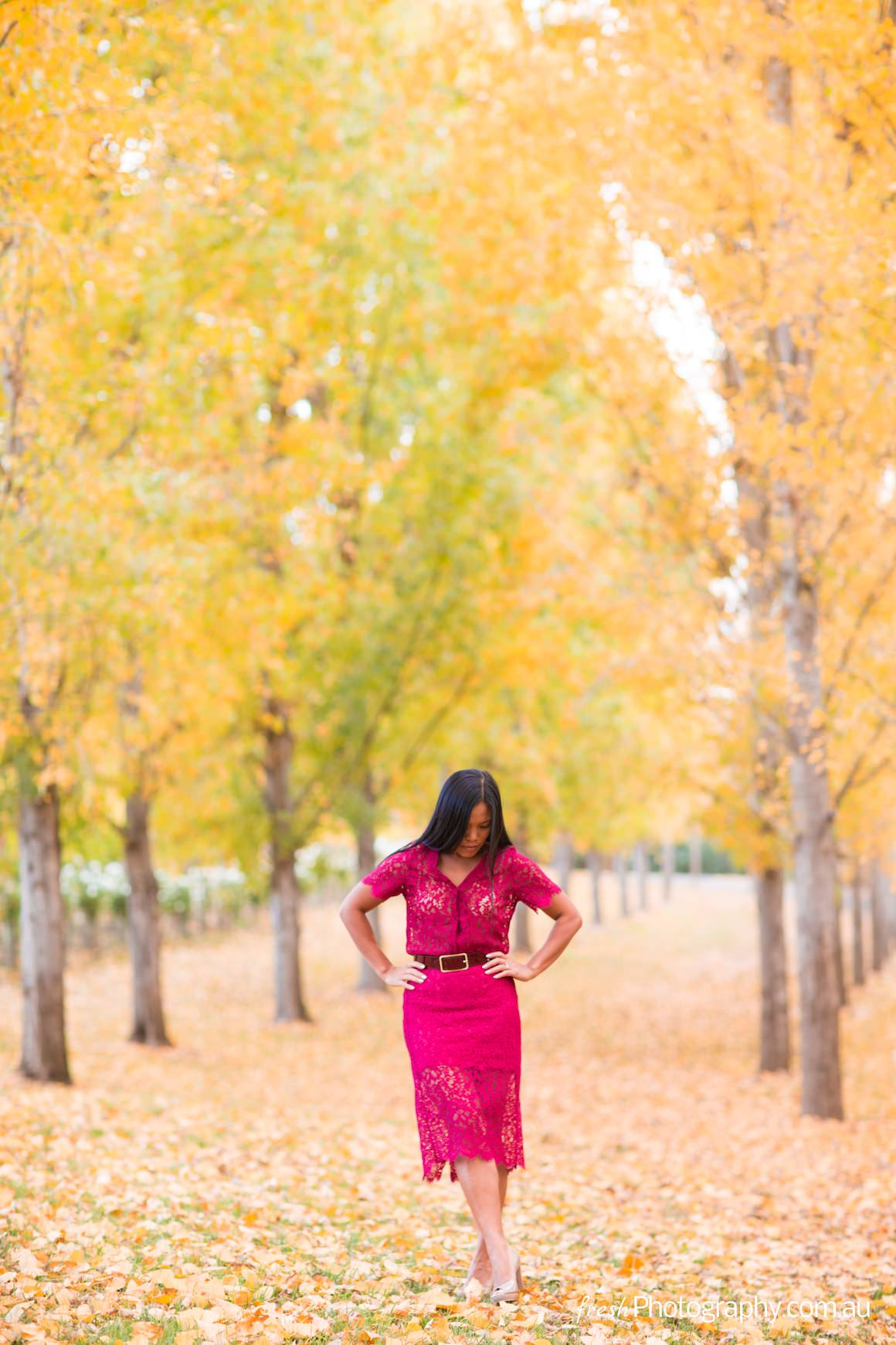 fashion photo shoot in the yarra valley with falling autumn leaves