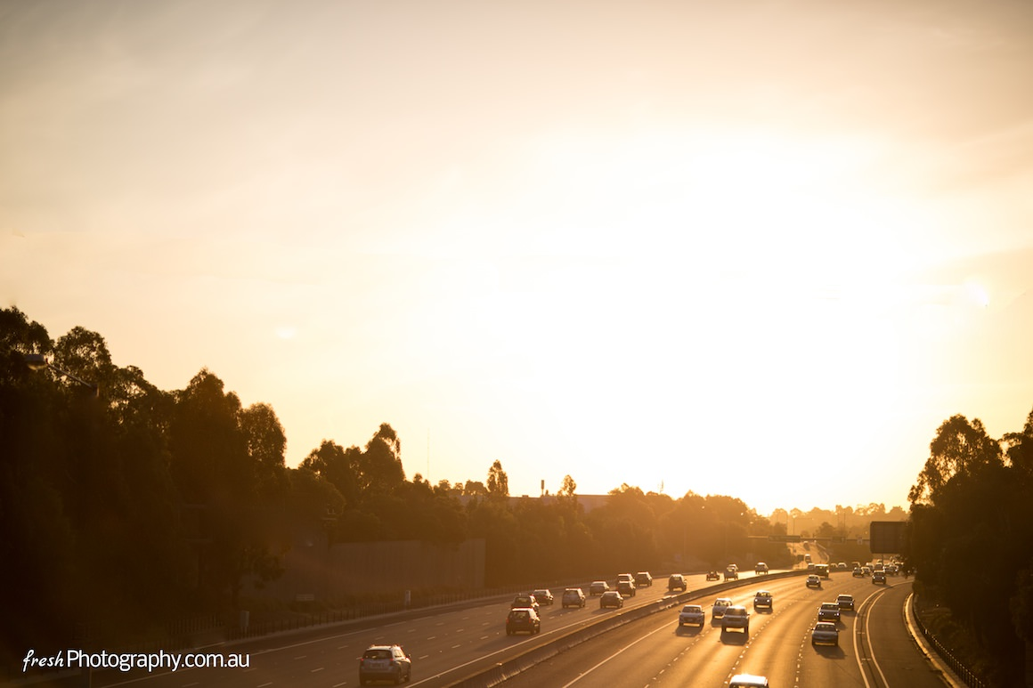 Freeway to Ringwood - Sunset in Melbourne - Cars shining