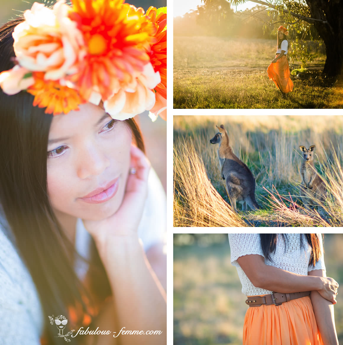 sunshine photoshoot - orange dress- headpiece - kangaroos