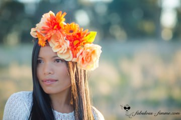 orange flower headpiece - australian autumn