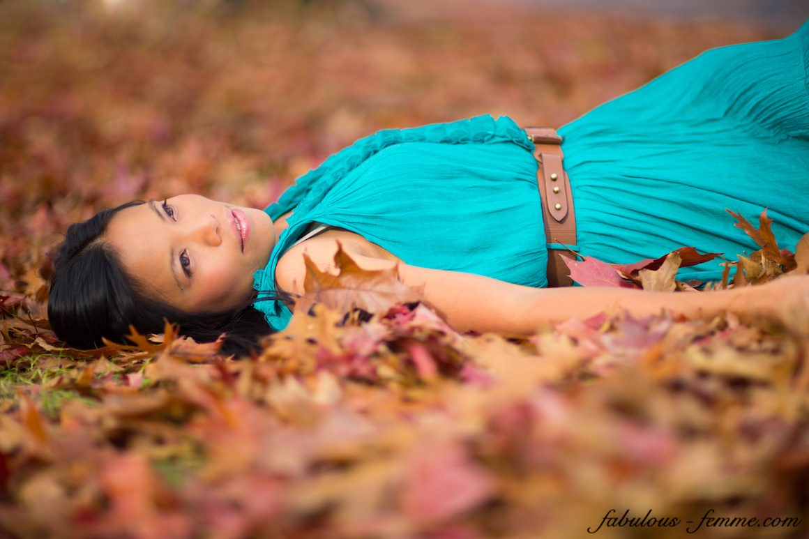 fashion autumn - leaves photoshoot
