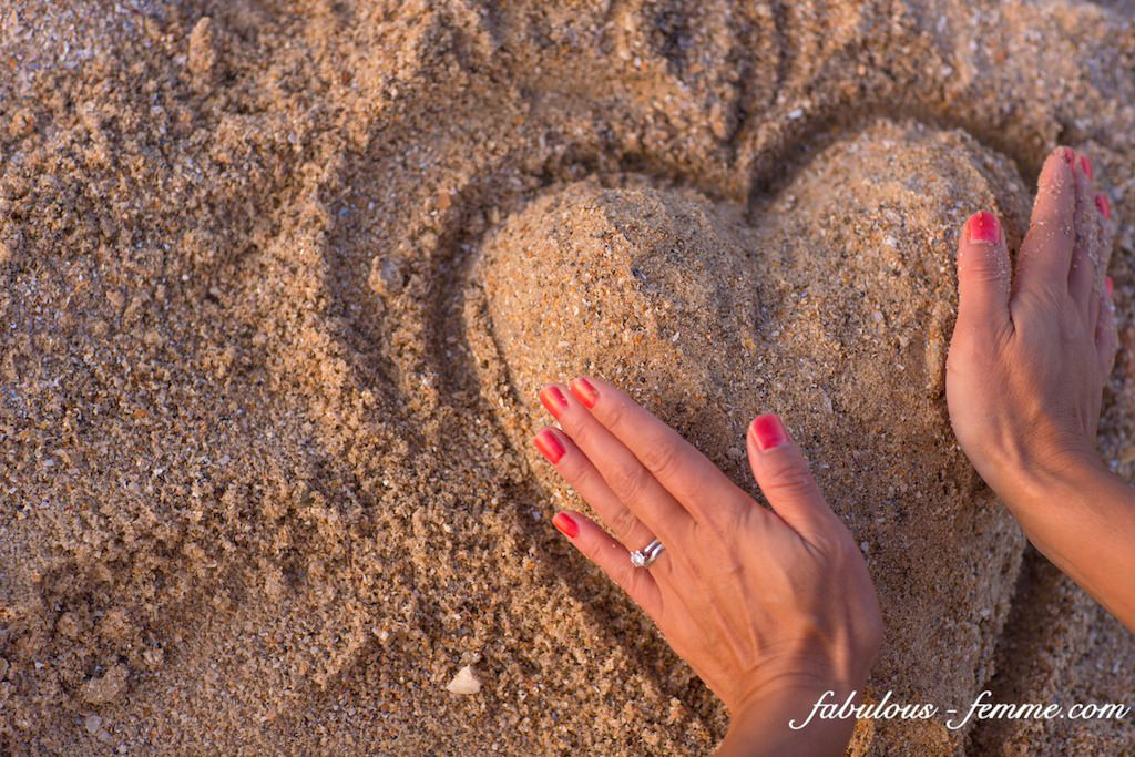 heart made out of sand