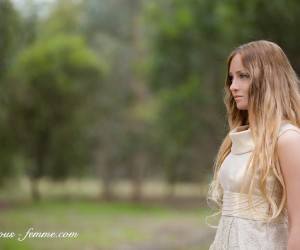 blonde girl in lace dress - portrait photo