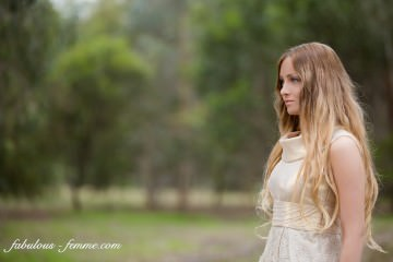 blonde girl in lace dress - portrait photo