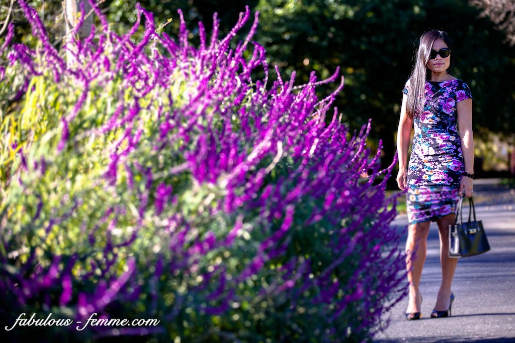 purple flowers with purple dress - styling melbourne