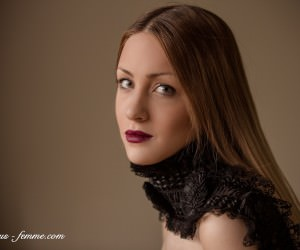 pretty model with lace scarf - creative fashion photography