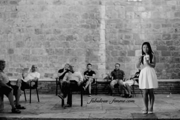 San Gimignano - ice cream girl and locals