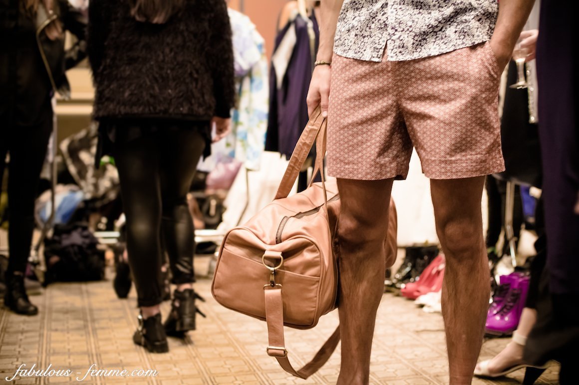 man bag and shorts
