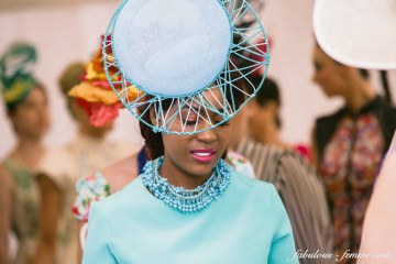 aqua blue hat and dress - spring racing fashion