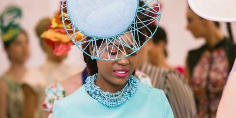aqua blue hat and dress - spring racing fashion
