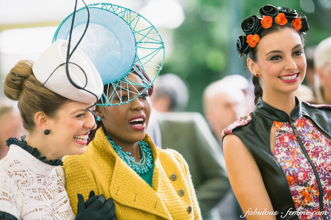 happy & pretty girls at the fashions on the field in caulfield cup 2013