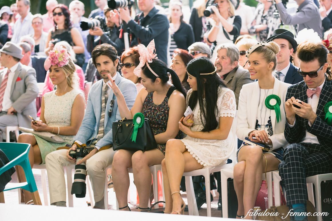 watching the fashion competition - melbourne caulfield cup