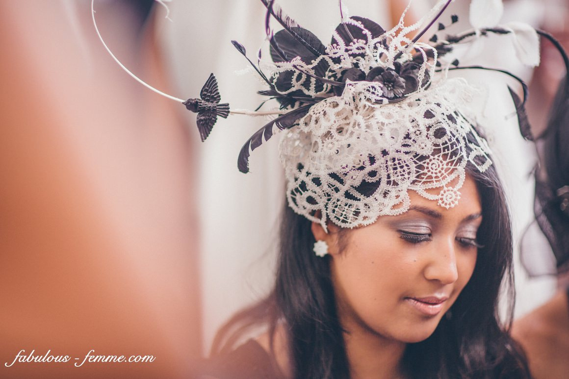 black and white headpiece