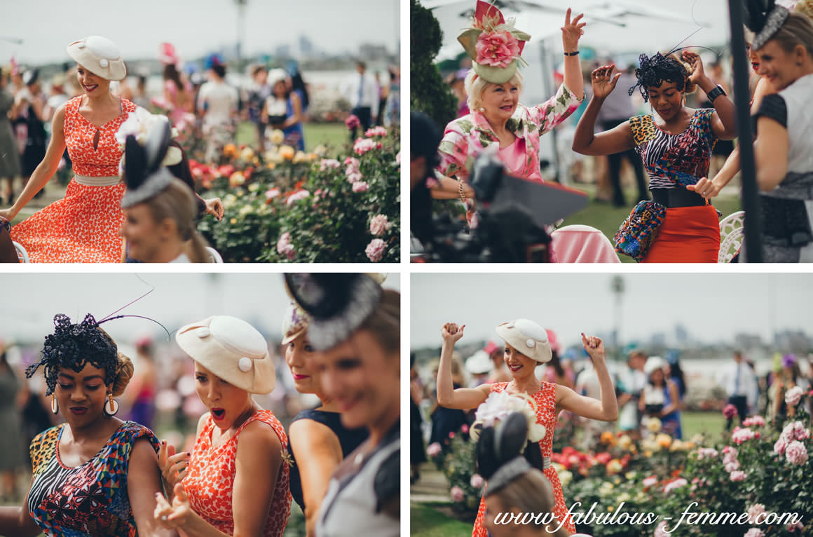 girls having fun on oaks day in melbourne - at flemington racecourse