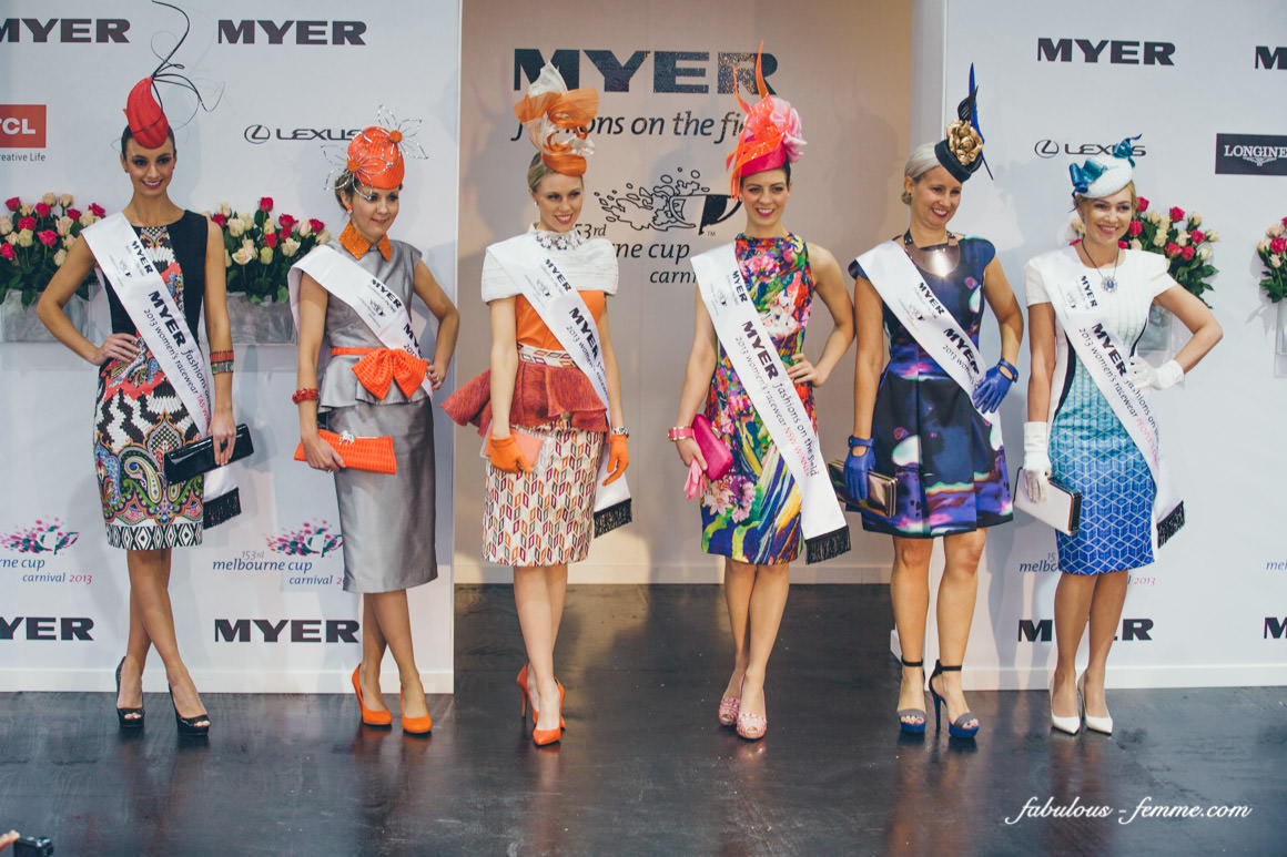 2013 finalists of the Myer Fashions on the Field at the Flemington Spring Carnival in melbourne