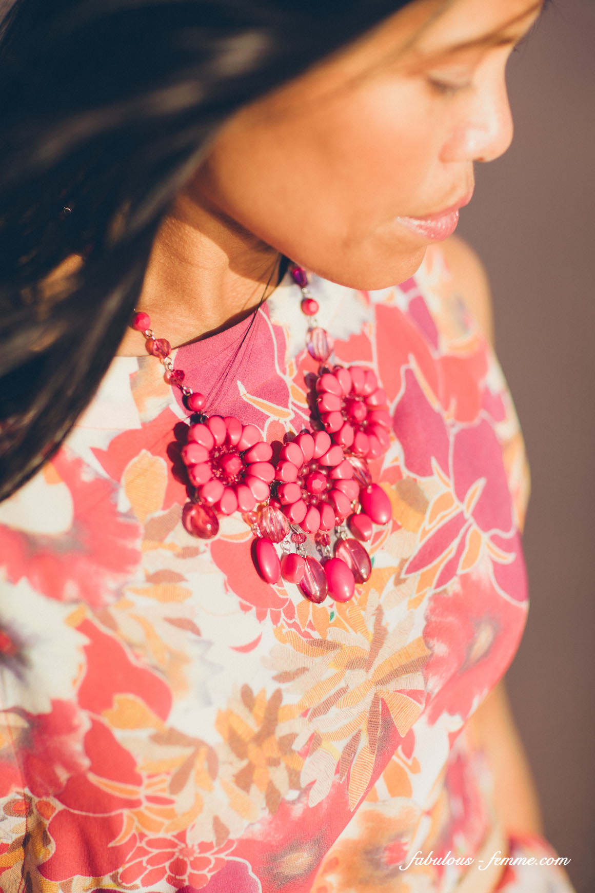 necklace styled pink orange