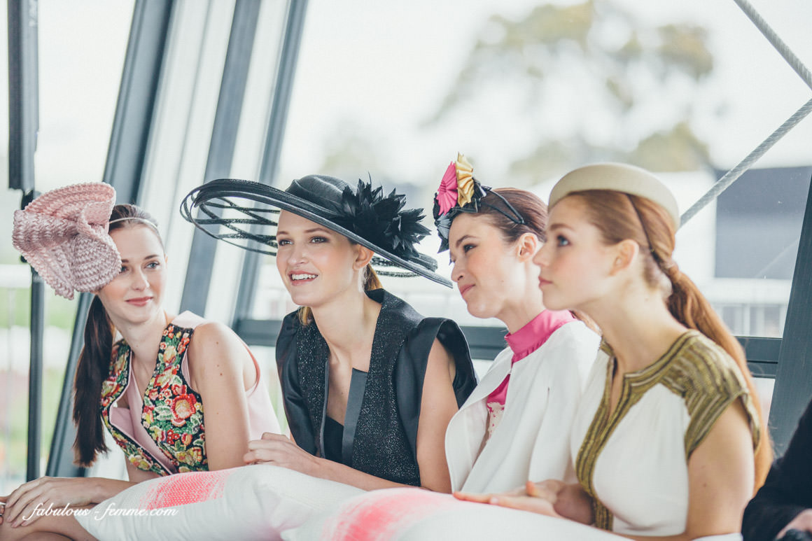 beautiful models presenting spring racing fashion from myer