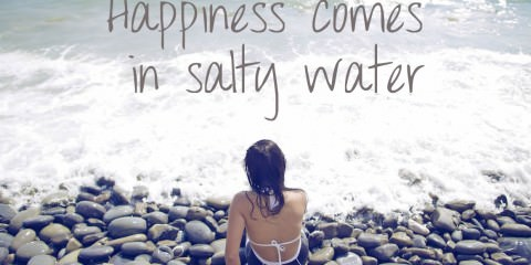 Happiness comes in salty water - Ocean picture quotes