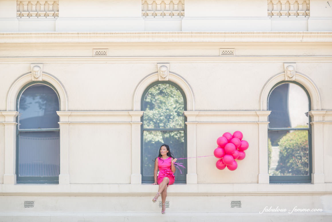 Creative pink balloon picture - girl with balloons - pink