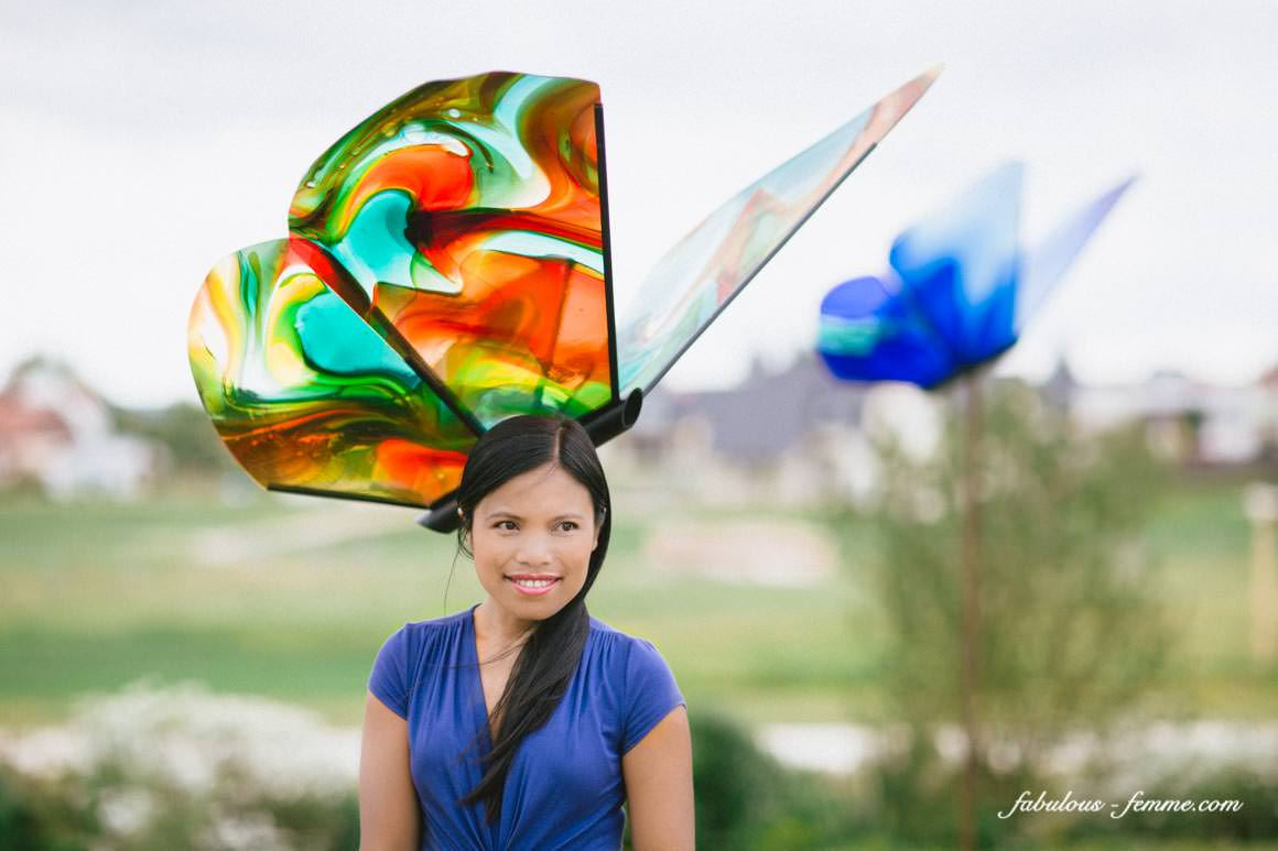 butterfly hat made out of glass