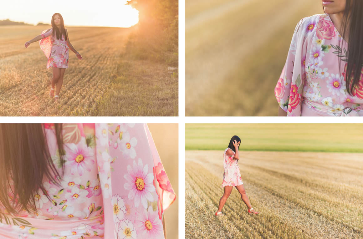 sunset photography - girl in field