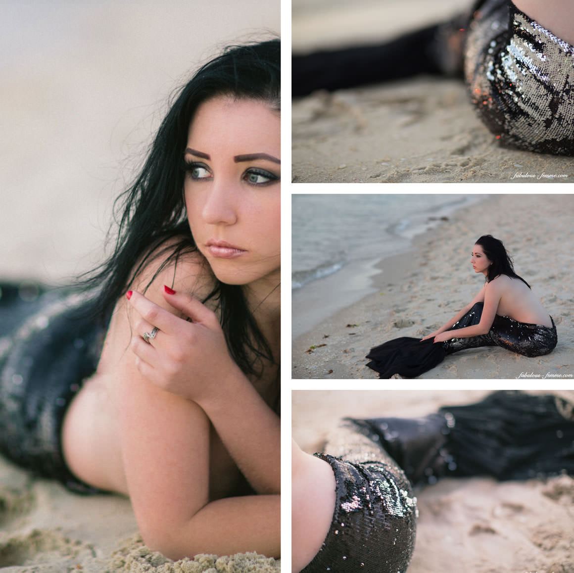 photographing mermaids at the beach