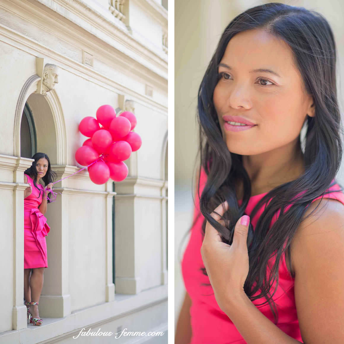 photos of girl with pink balloons