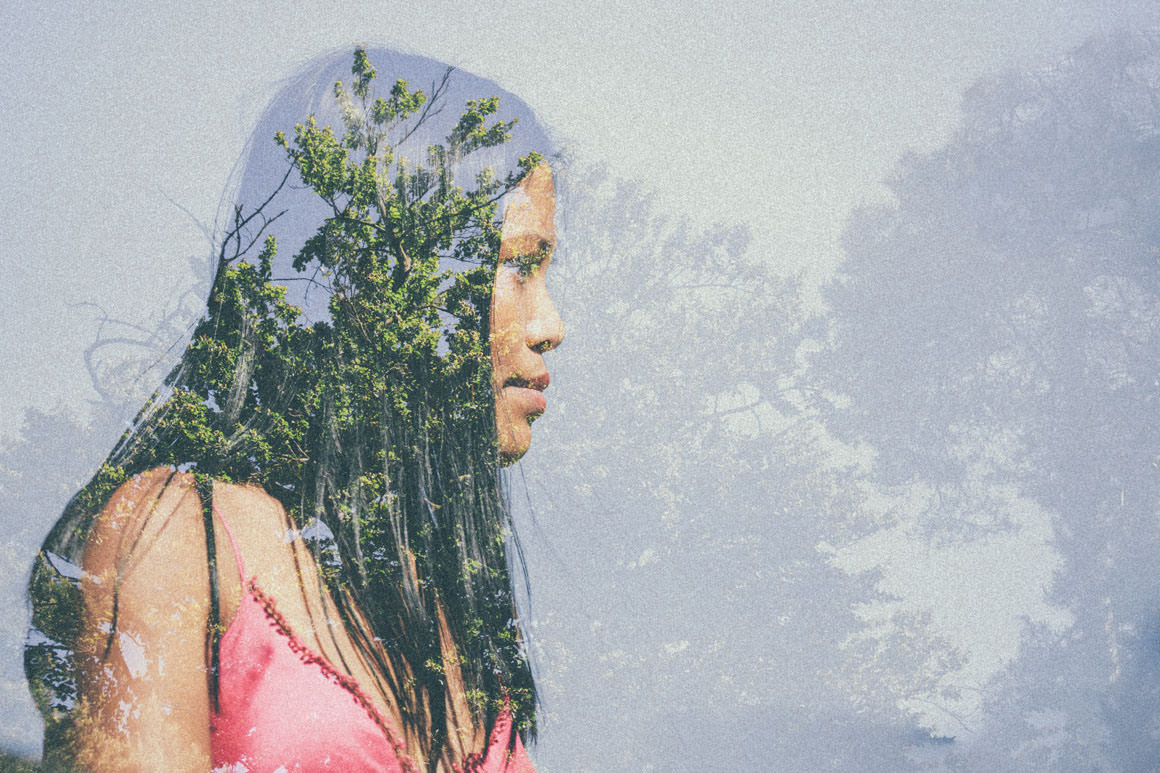 double exposure - trees and portrait