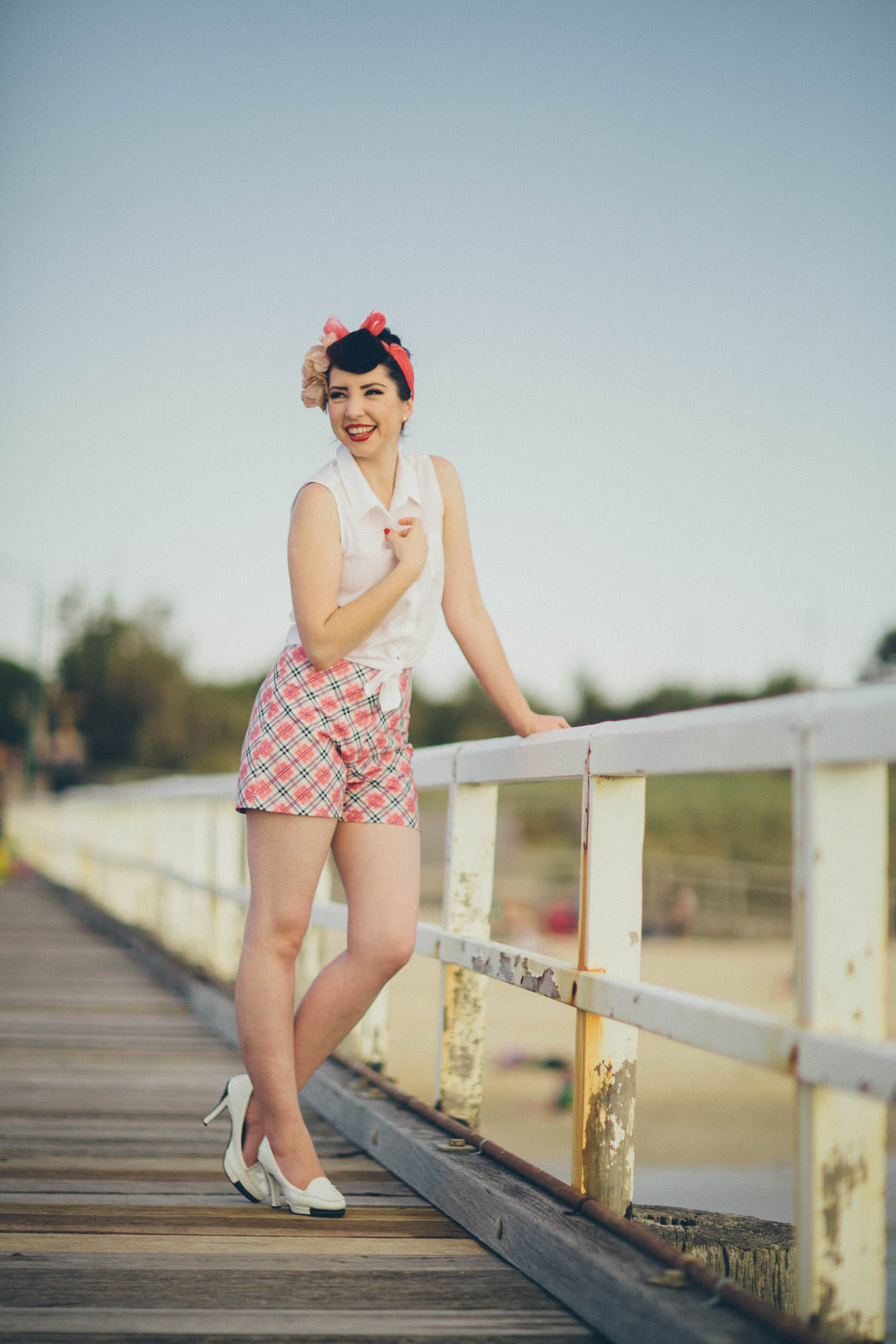 pin up photo shoot on pier in melbourne