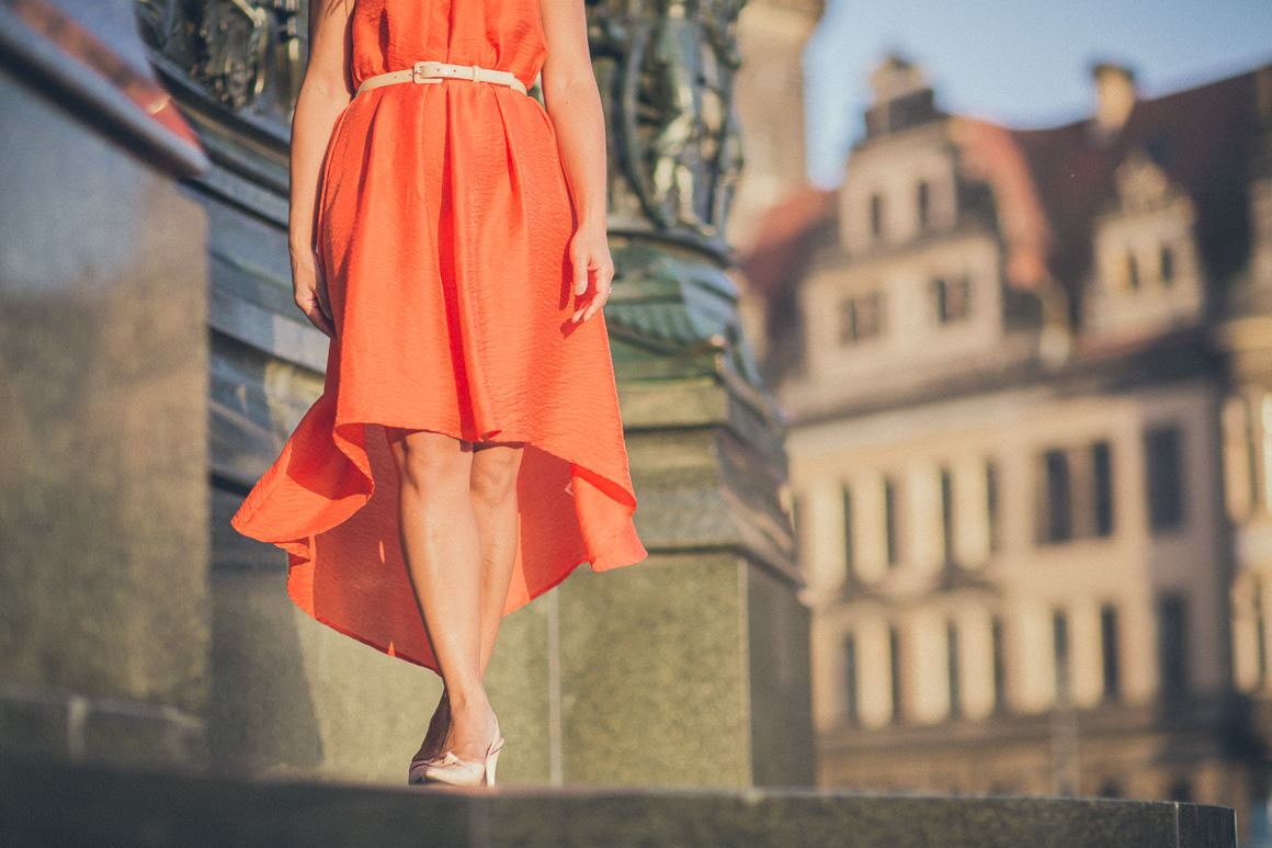 orange dress by hennes and mauritz