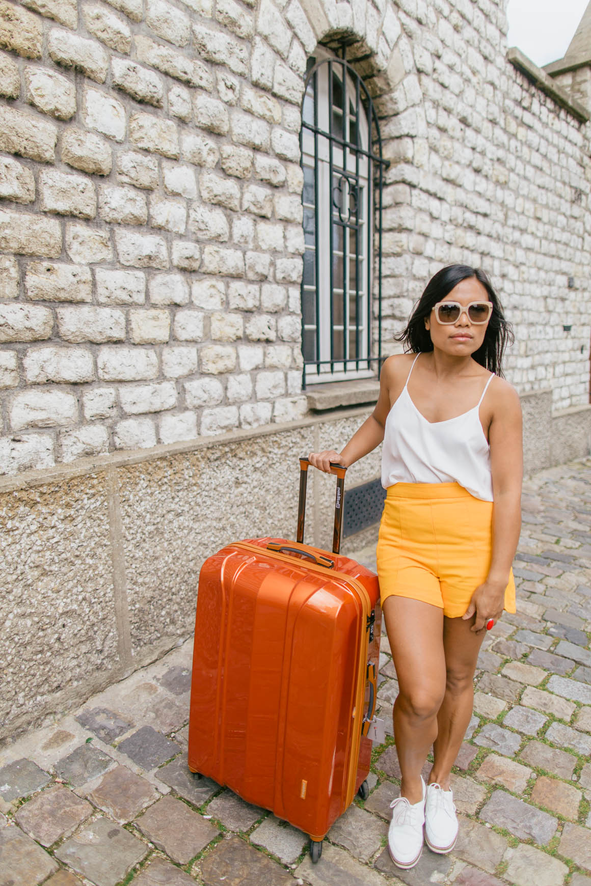 orange stylish suitcase