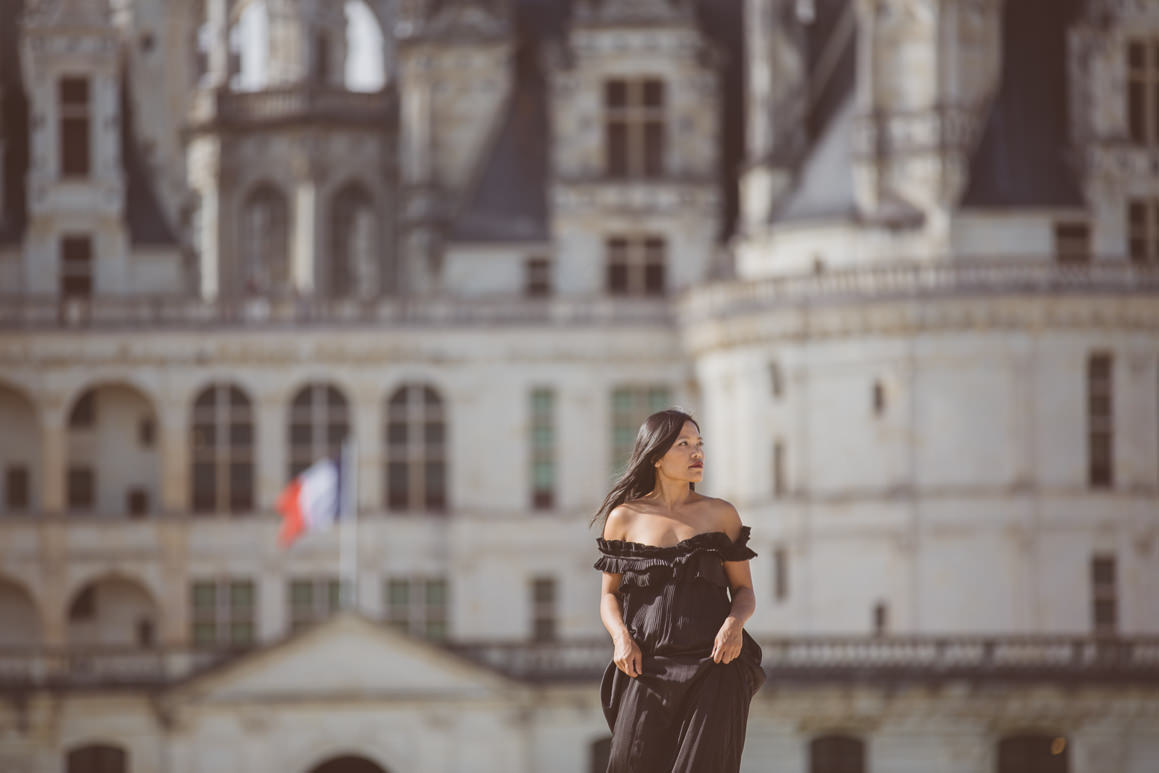 luxury fashion at castle - long dress gown