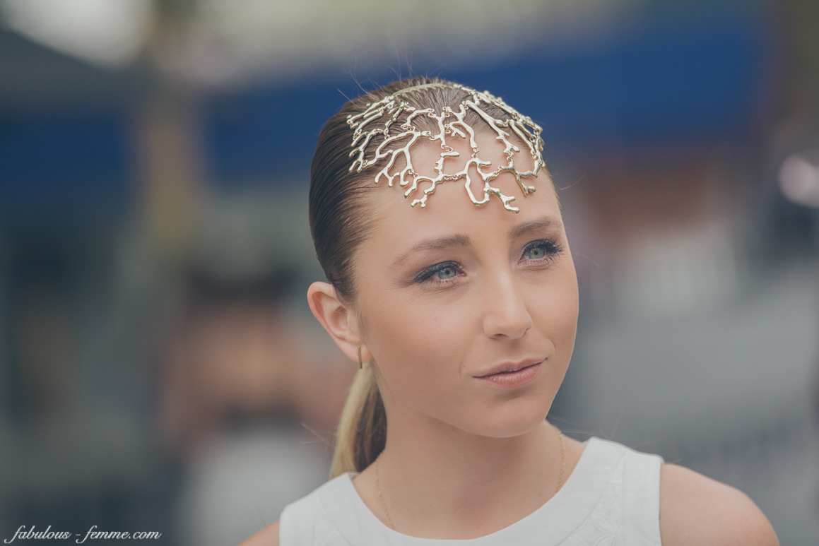 golden headpiece - Melbourne Fashion
