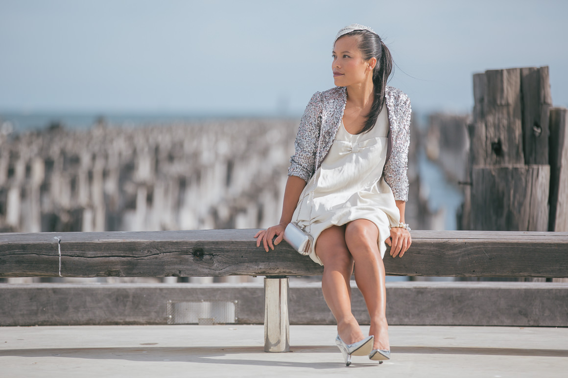 girl sitting on pier - fashion blogger - melbourne - silver outfit ootd