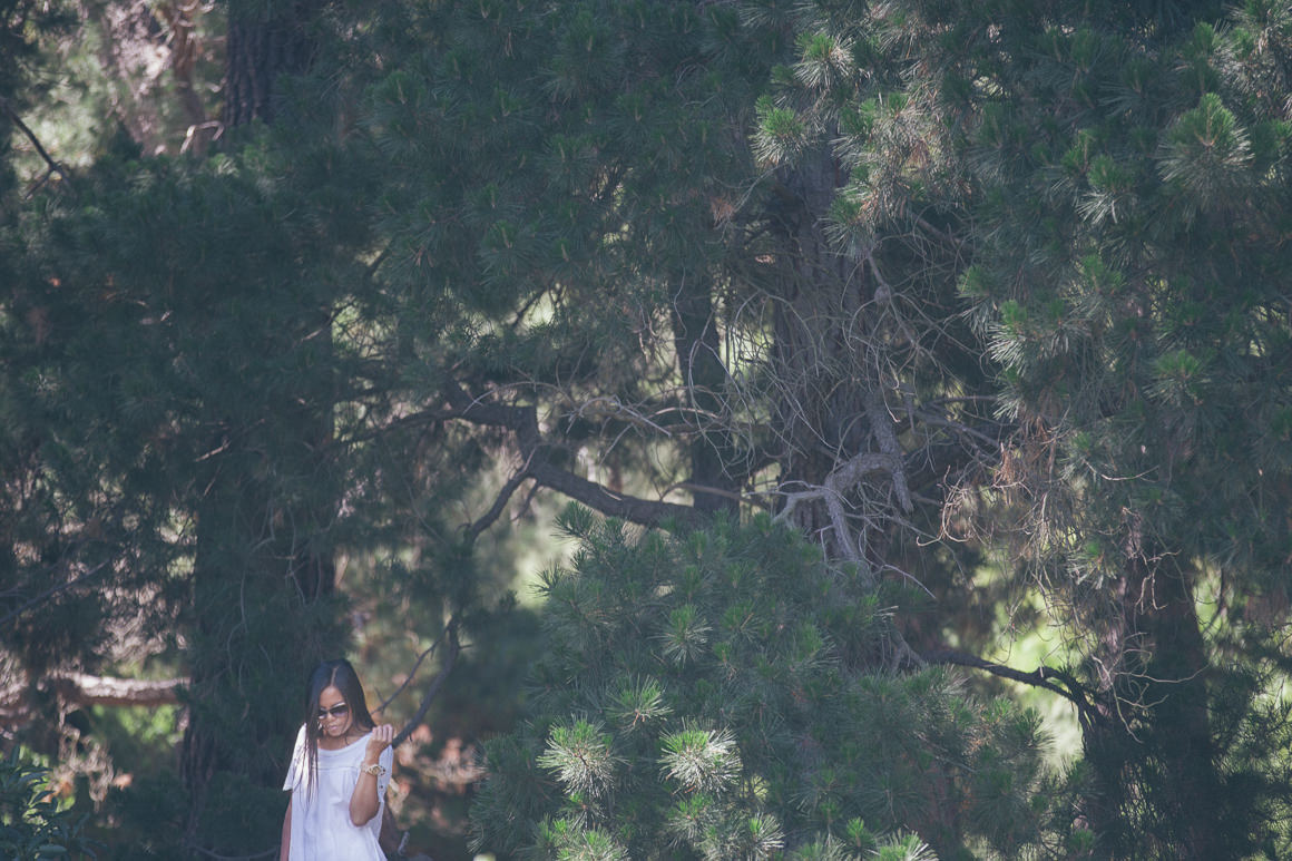 girl in pine trees - nature - earth - wood