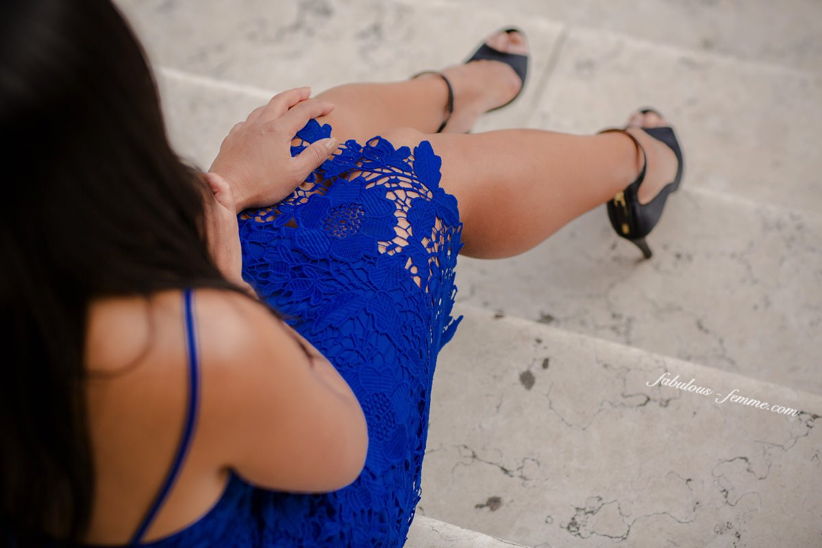 lace dress at fashion shoot in europe - hot blue