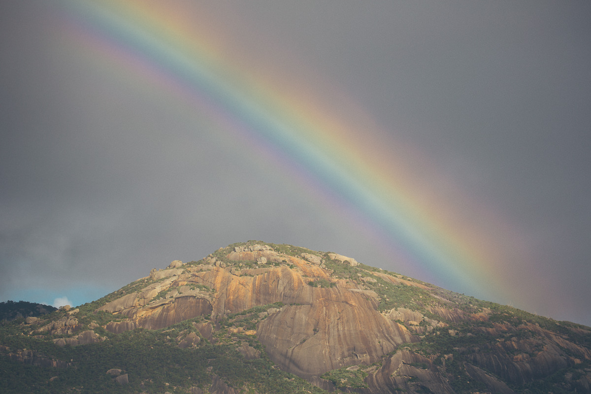 rainbow over wilsons prom in victoria australia