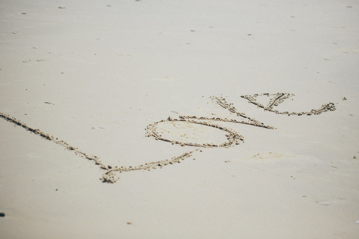 Love - beach drawing