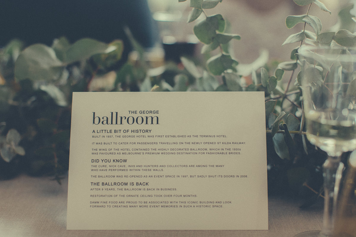 wedding menu at the geroge ballroom in st kilda
