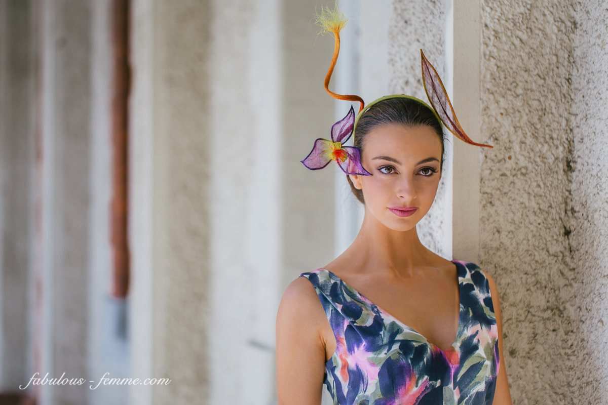 Alex Hecker - wearing racing fashion outfit for LisaAlexanderDesign  - Melbourne Milliner