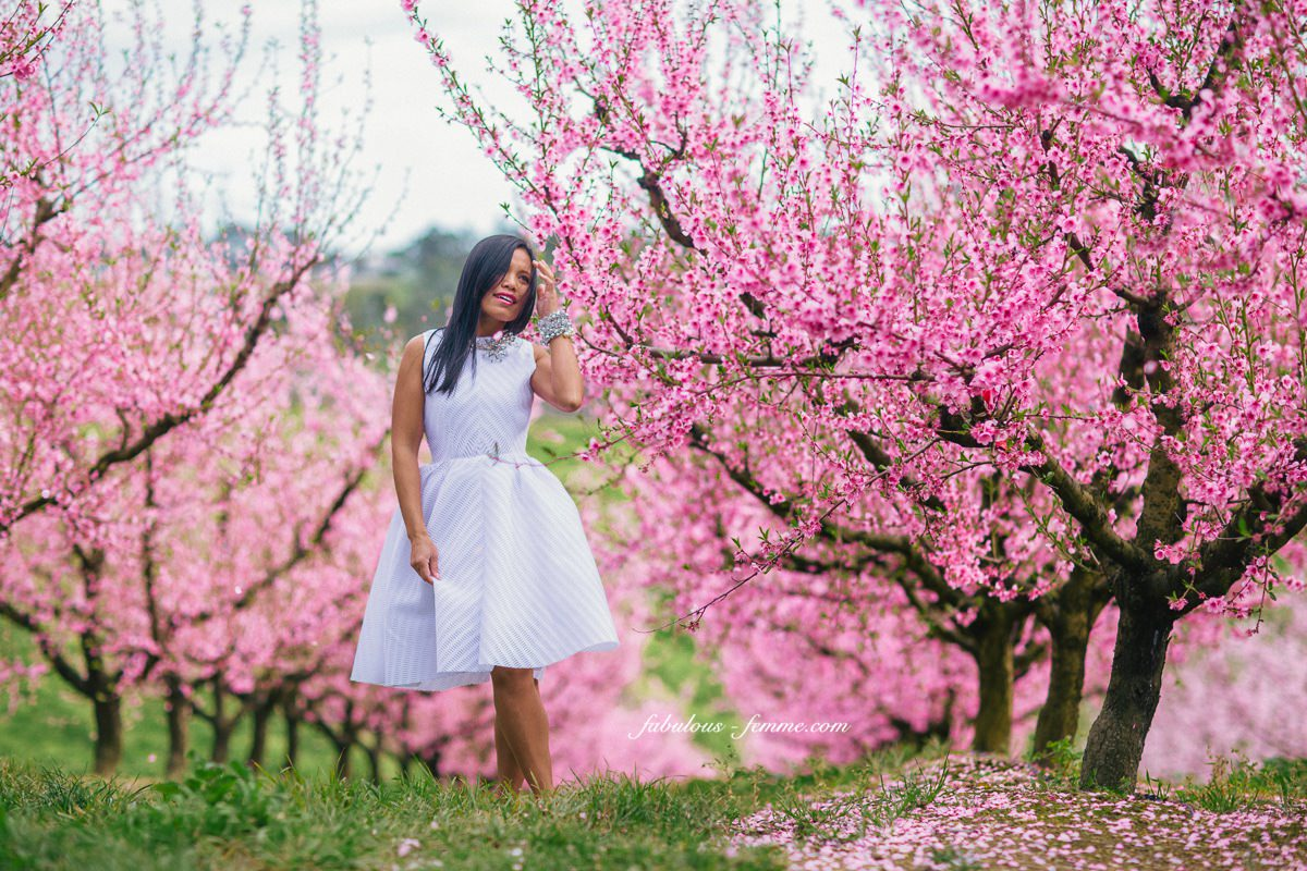 Summer Spring Fashion - Pink blossom trees - Melbourne