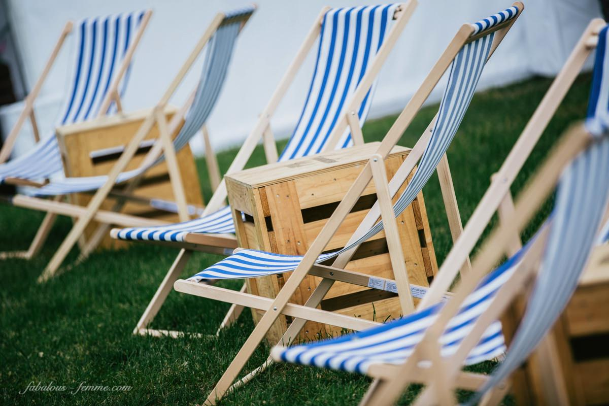 relaxing deck chairs - blue and white stripes