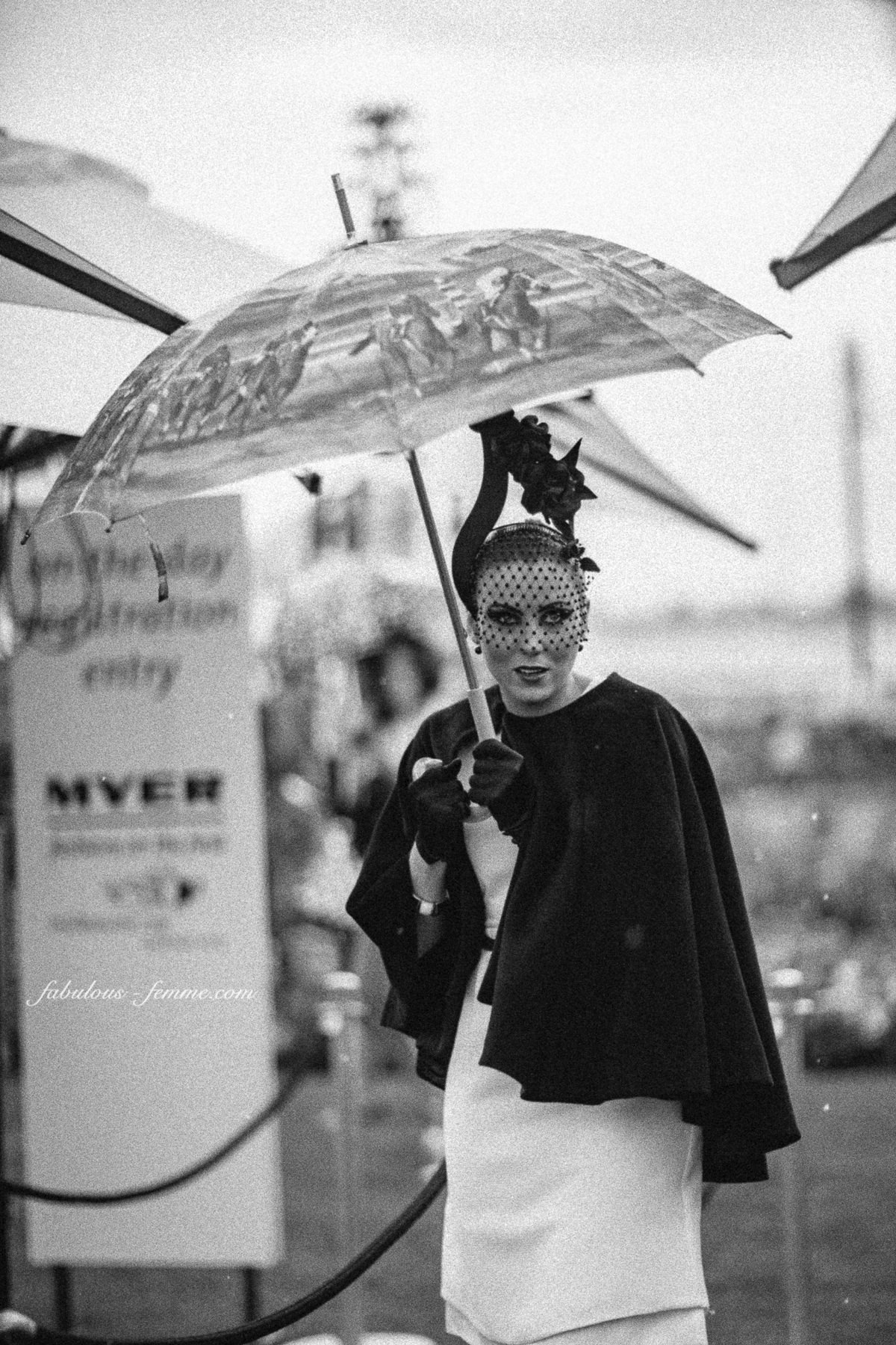 stylish umbrella at biggest Melbourne event - Melbourne Cup racing fashion in rain