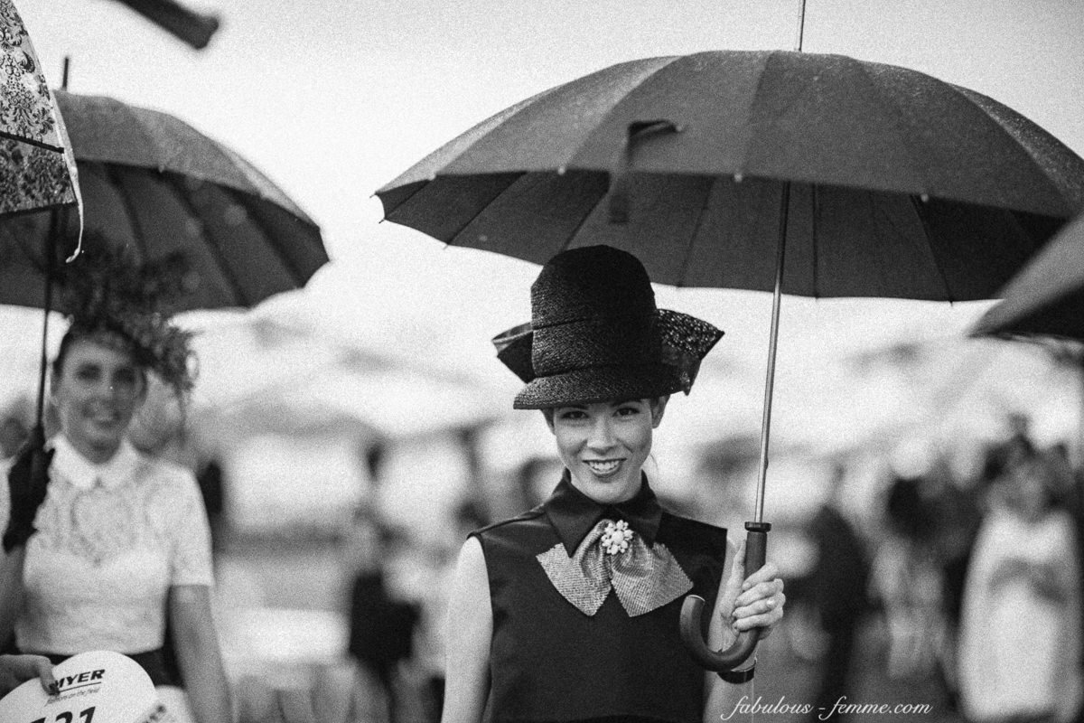 stylish lady with umbrella in black and white - millinery - Melbourne Cup