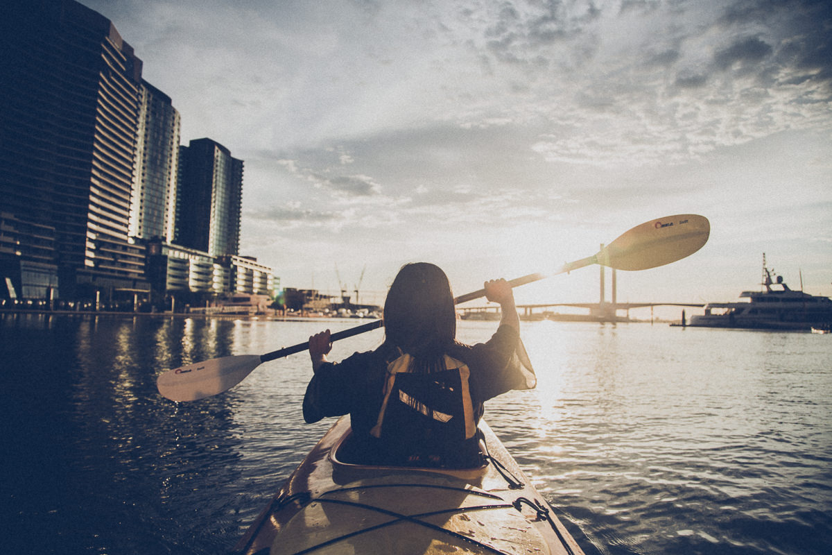 paddling into the sunset in melbourne - kayak on the yarra