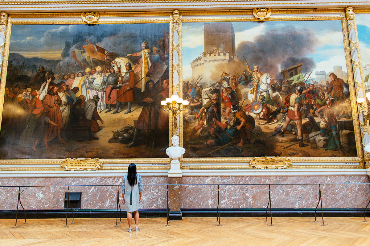 massive large paintings with person for size comparison - versailles gallery