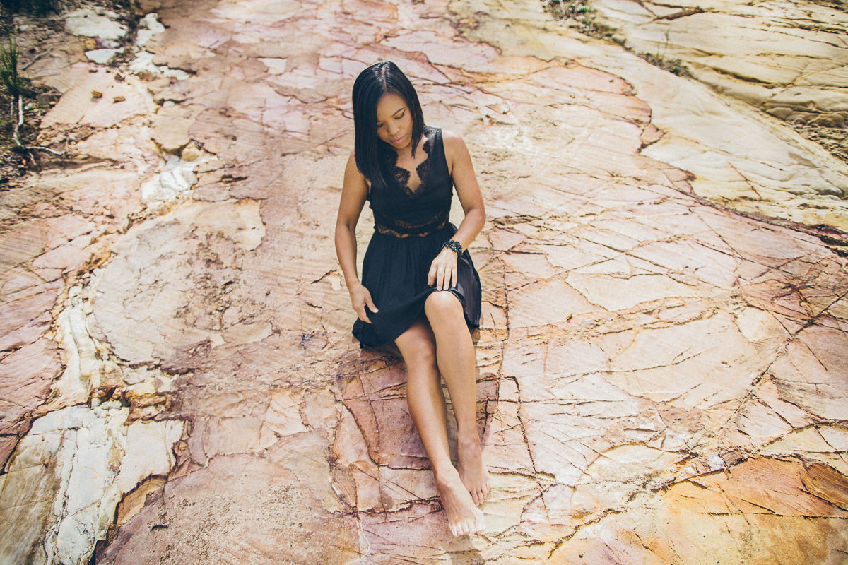 best fashion photo blogs in melbourne - black dress on rocks