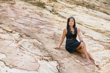 Fashion - Black Op Shop Dress from Melbourne - creative photo fashion on rock face