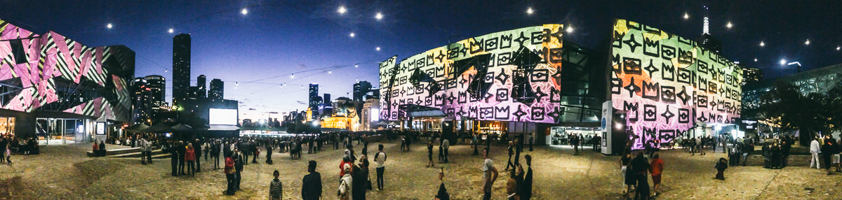 Federation Square White Night Projections 2016 - Panorama Picture
